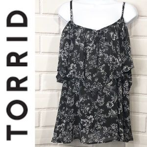 Torrid Black and White Floral 2 Layers Tank 1